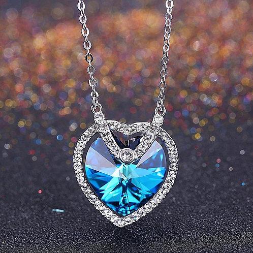 Bermuda Blue Swarovski Crystals Sterling Silver Heart Necklace