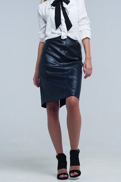 Black Midi Straight Faux Leather Skirt