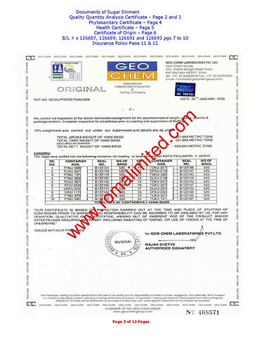 inspection Certificate Sugar
