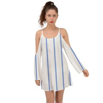 Blue Stripes Kimono Sleeves Womens Boho Dress