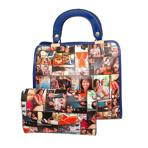 Blue Michelle Obama Square Handbag