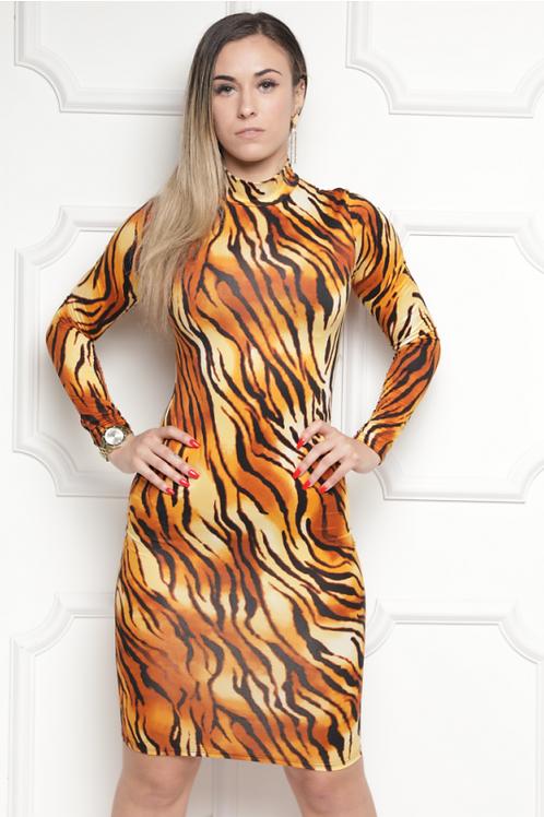 Animal Print Bodycon Midi Dress