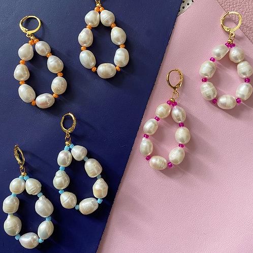 Colour Pop Pearl Hoop Earrings