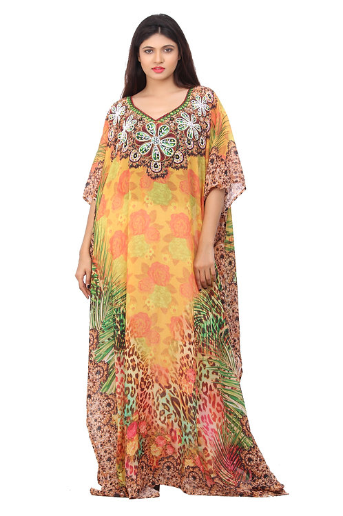 Go Wild With Fab Jungle Print Highly Embellished Maxi Silk Kaftan With Flowers