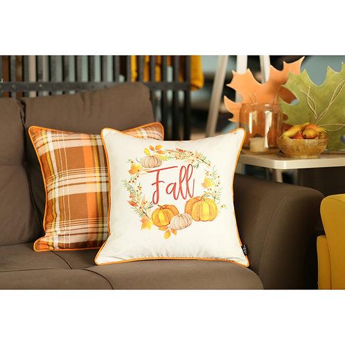 "Fall Season Thanksgiving  Pumpkin  Square 18"" Throw Pillow Cover (Set"