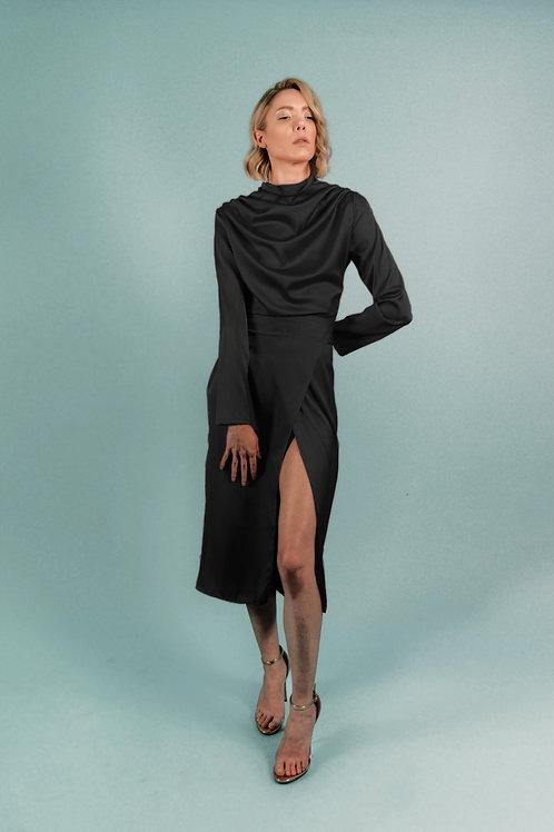 Black Silk Turtleneck Draped Midi Dress