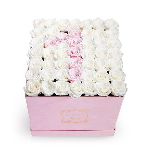 #1 Soft Pink & White Preserved Roses - Large Square Luxury Pink Suede