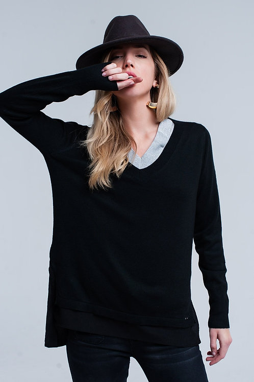 Black Ribbed V-Neck Sweater