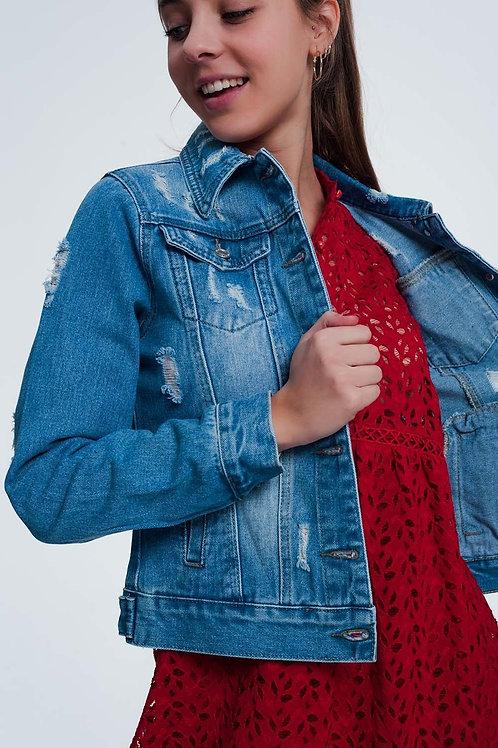 Light Denim Jacket With Wear Detail