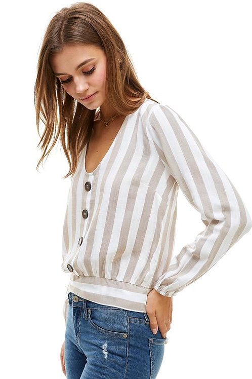 BUTTON FRONT TIE BACK WAIST LONG SLEEVE BLOUSE