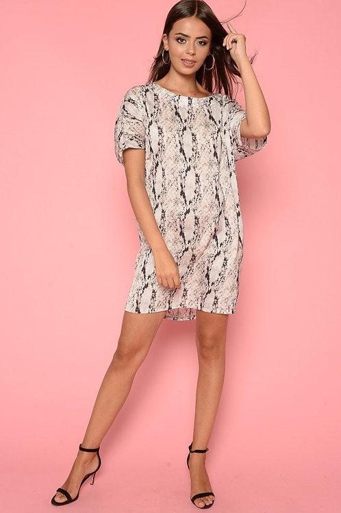 Cream Oversized Snake Print T-Shirt Dress