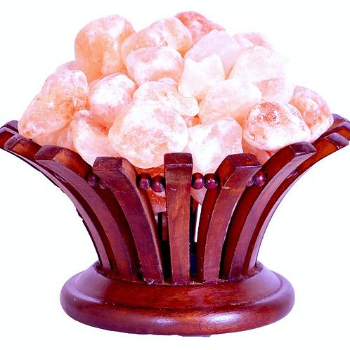Salt Lamp in Rosewood Flower Shape Basket