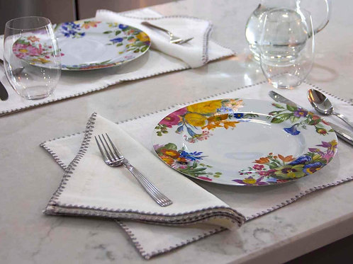100% European Flax Linen Placemats With Merrow Edge Stitching (Pair)