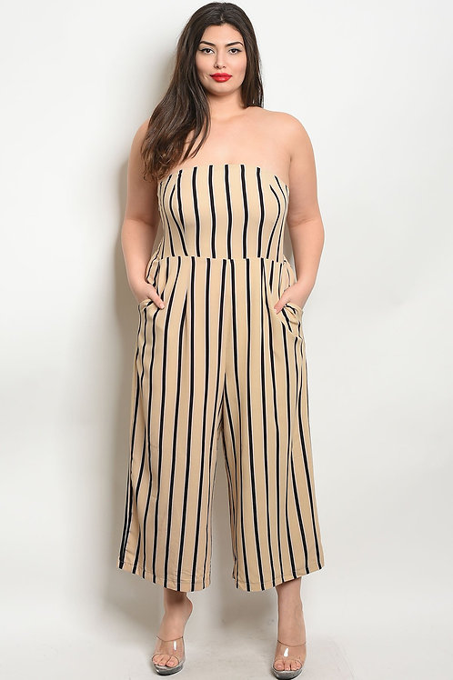 Beige Black Stripes Jumpsuit