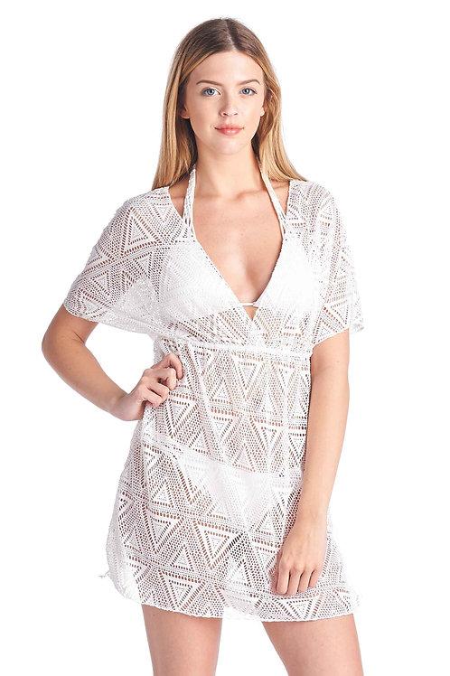 Shore Trendz Women's Crochet V-Neck Swimwear Cover-Up Beach Dress: HOT PINK