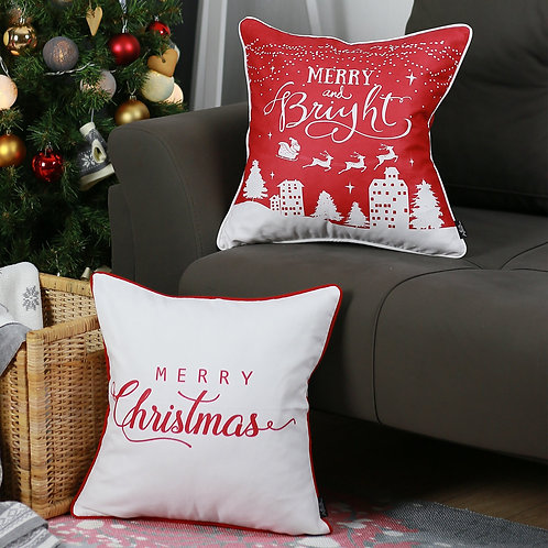 """Merry Christmas Square 18"""" Throw Pillow Cover (Set of 2)"""