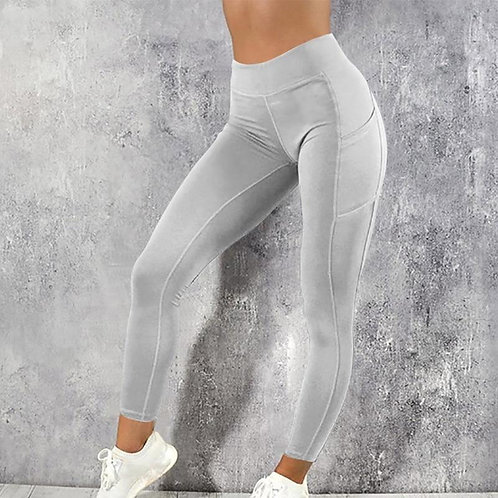 Women Leggings Running Fitness Yoga Pants With Pocket Solid Sports Gym