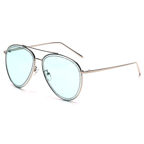 Blue Glitter Aviator Sunglasses
