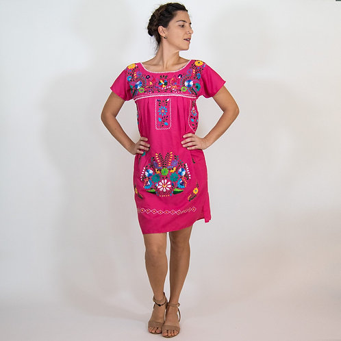 Bohemian Pink Dress with Flowers