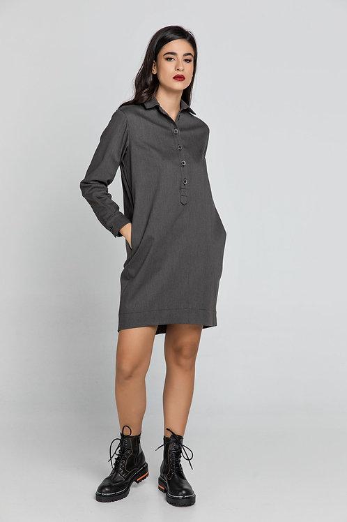 Dark Grey Tencel Shirt Dress by Conquista