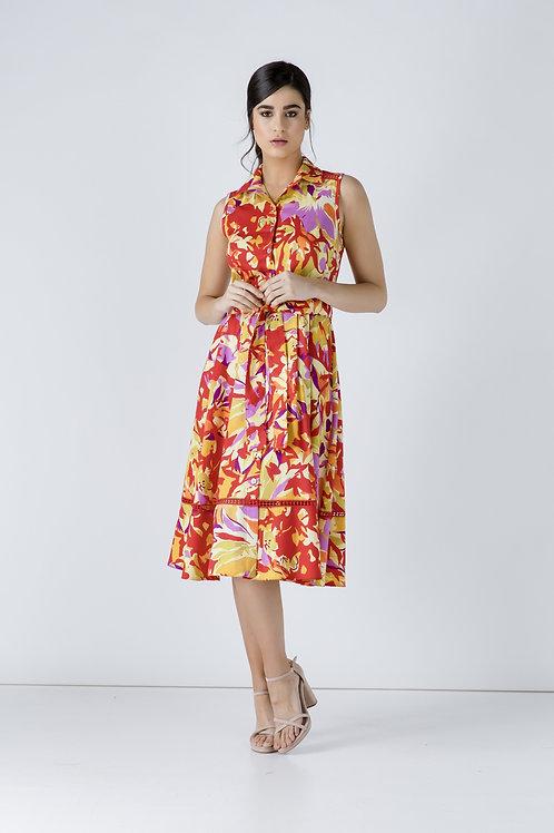 Button Detail Multicoloured Print Dress