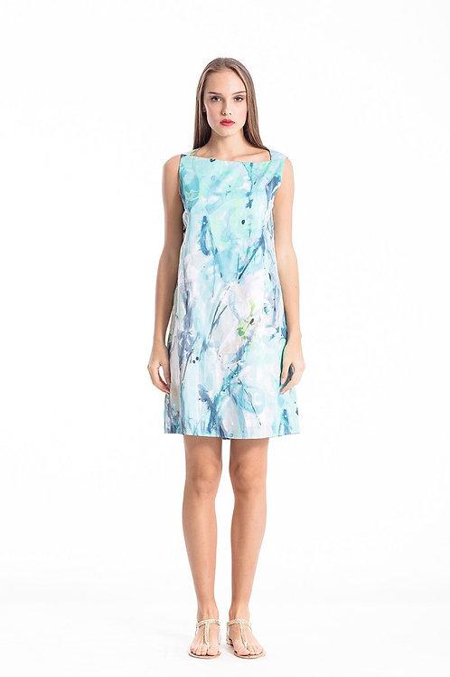 A Line Print Poplin Dress
