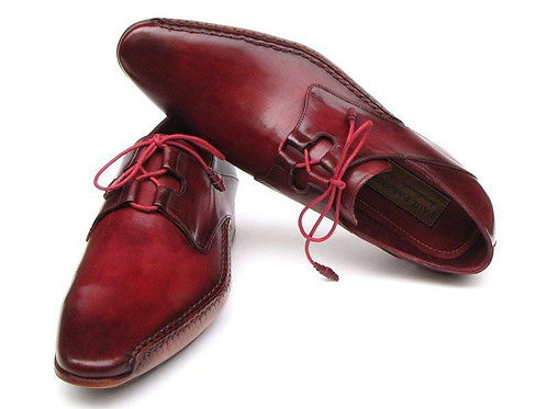 Paul Parkman Men's Ghillie Lacing Side Handsewn Dress Shoes - Burgundy Leather