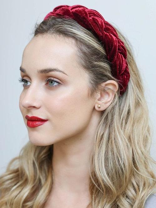 Velvet braided headband in burgundy