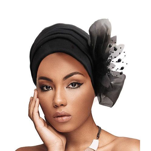 Black Pleated Pearl Turban
