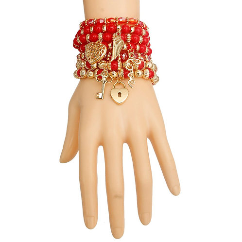 Red and Pearl Love Charm Bracelets