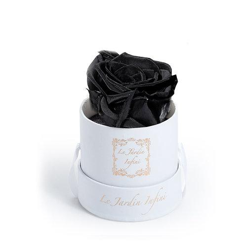 Black Preserved Rose in a Box - Small Round White Box