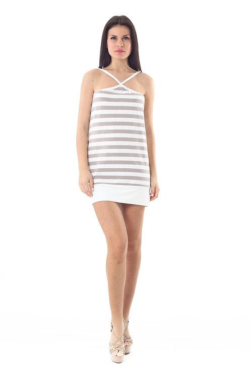 Strappy Striped Mini Dress in Olive