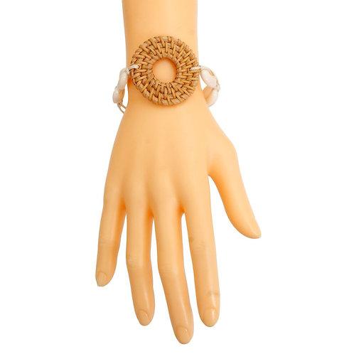 Brown Woven Ring Shell Bracelet