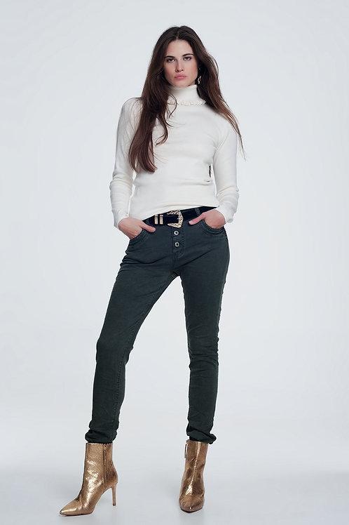 Khaki Jeans With Button Closure