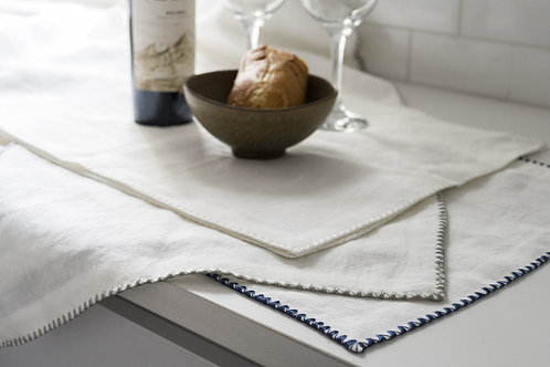 100% European Flax Linen Runner With Merrow Edge Stitching