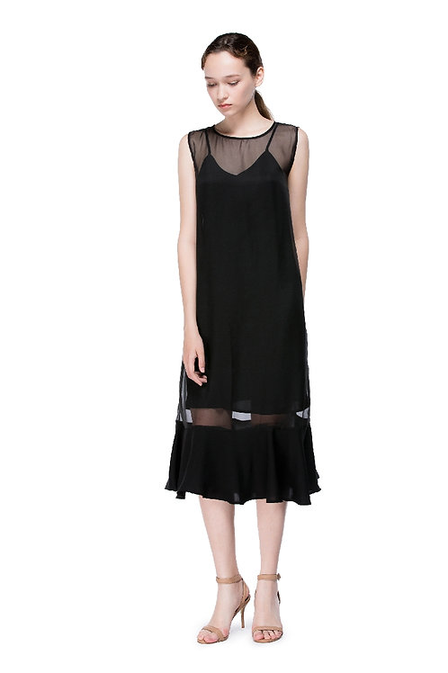 Black Round Neck Flounced Dress