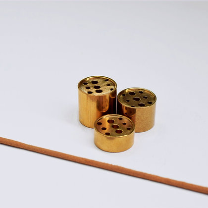 Set of 3 Brass Column Incense Stands