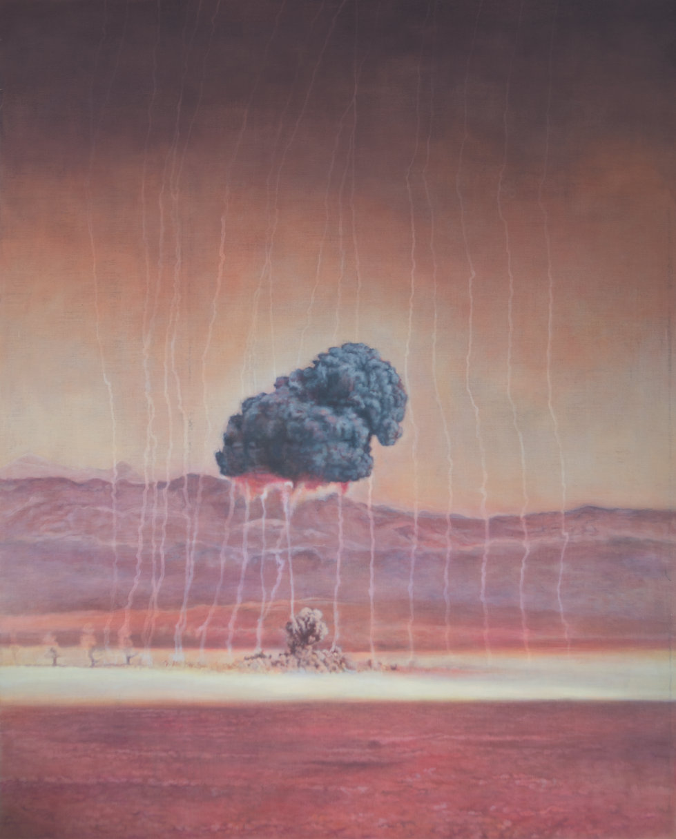 A large painting on linen, with orangey pink colours and a dark foreboding grey cloud from an atom bomb test. In the background are the hills in the Nevada dessert in a purpley colour.