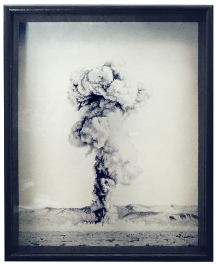 A monotone image of an oil painting on glass of an atomic explosion in the nevada desert. Close up and delicately painted with a dark wooden frame. Size 10 x 8 inches in real life. Painted by Kirsty Harris.  kirsty harris nucl