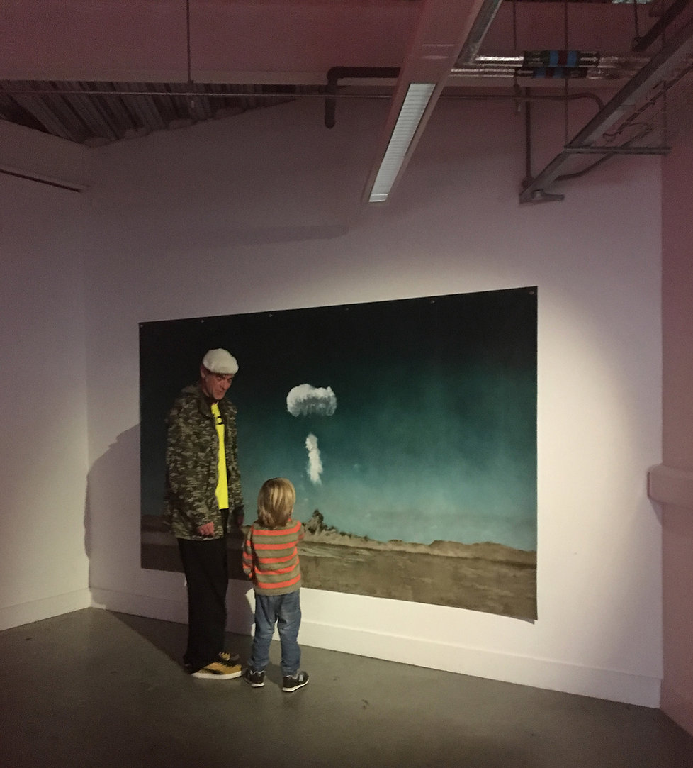 kirsty harris, atom bomb, charlie, oil painting, linen, art, artist, plymout art weekender nuclear bomb, explosion, nevda, desert, cold war, warfare