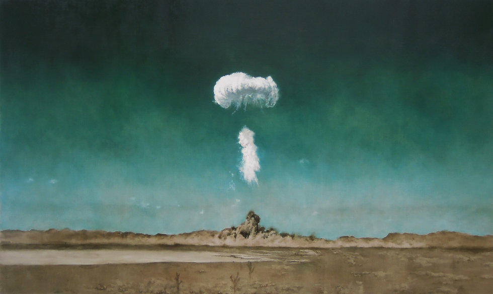 Kirsty Harris, oil painting art, ARTIST, london, nevada, atom bomb, deert, charlie, explosion, mushroom cloud, cold war,