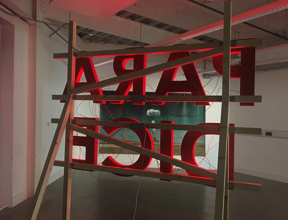Kirsty Harris, Start Robinson, artist, plymouth, aradise, paradice lost, plymouth art weekender, 2017, installation art, neon, atom omb, oil painting, sign