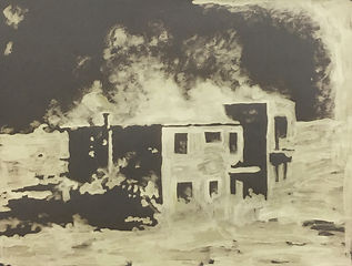 An art work made by painting bleach onto grey paper. It depicts a house that seems to be on fire. The house was tested on by the Chinese goverment to see how it would fare after being blasted by an atomic bomb. The marks are light, vibrant and expressive. Painted by artist Kirsty Harris.