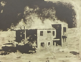 An art work made by painting bleach onto grey paper. It depicts a house that seems to be on fire. The house was tested on by the Chinese goverment to see how it would fare after being blasted by an atomic bomb. The marks are light, vibrant and expressive. Painted by artist Kirsty Harris. Click links to more images from the solo Exhibition at Manchester's CFCCA institution.