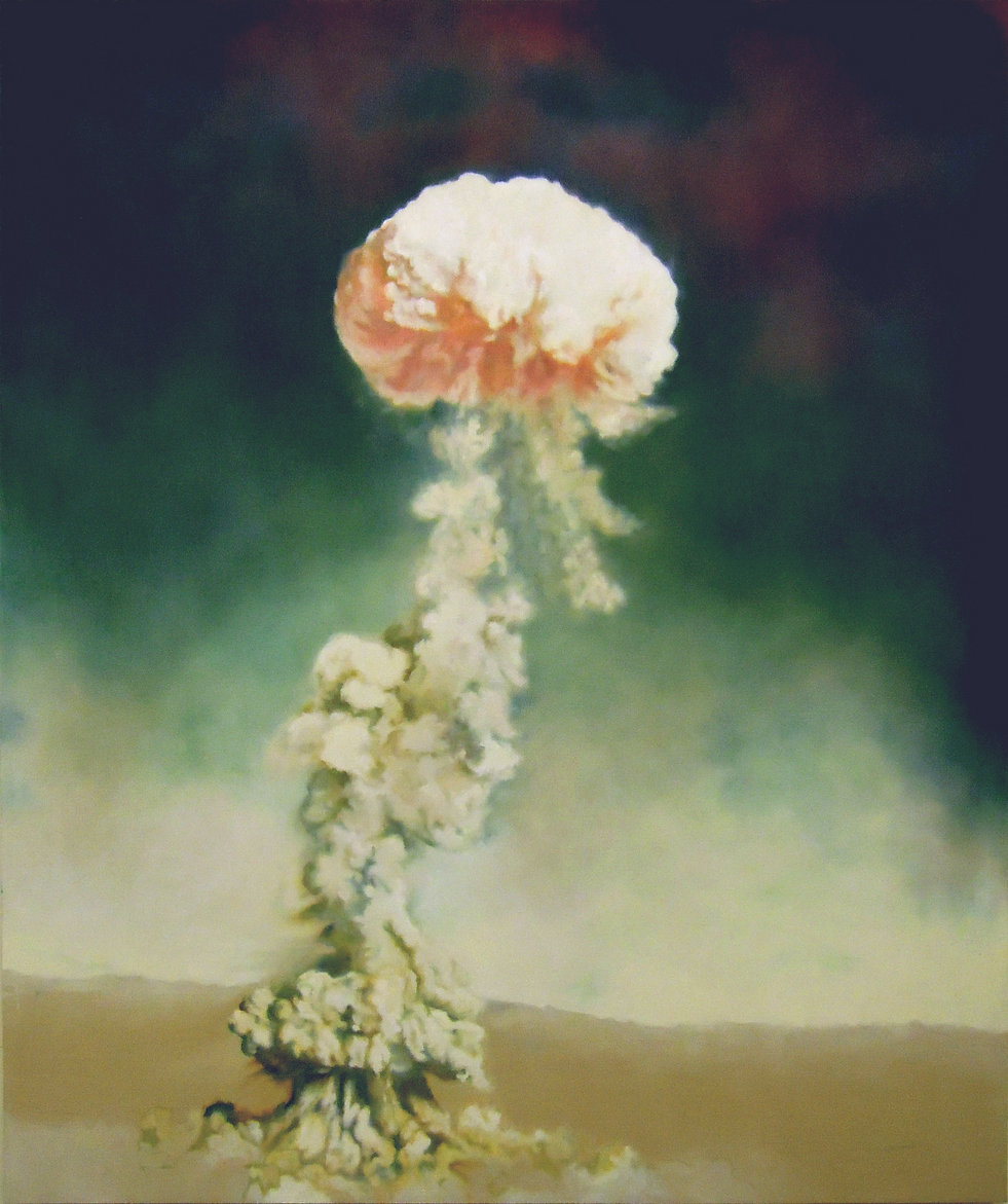 An image of a large oil painting of a nuclear test called Buster Jangle easy, detonated in the Nevada Dessert by the U.S. military. [ainting measures 60 by 50 inches in real life.