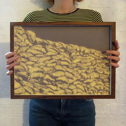 Comrades, Bleach on paper, 30x40cm framed, 2020