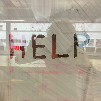 Kirsty harris, help, whitewash, window, in situ, installation, art, plymouth, come quick disaster