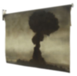 A painting of an atom bomb, mushroom cloud painting, Soviet union, russia, first lightning, joe 1, rds 1, nuclear test, cold war, oil painting, kirsty harris, uk, artist, oil painting