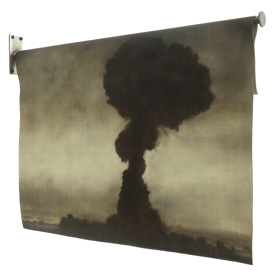 A painting of an atomic explosion, mushroom cloud hanging on a steel, flag pole-like structure. The mushroom cloud is dark and foreboding with a lighter misty background. sepia coloured, it depicts the first nuclear test made by the USSR, called first lightning. Painted by artist Kirsty Harris.
