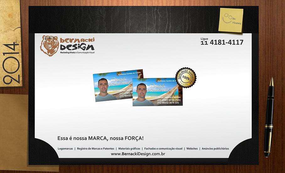 1000 Cartão Visita c/Verniz UV Total Frente